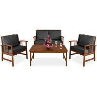 Wooden Garden Furniture Set Outdoor Patio Table and Chairs Lounge with Coffee Table Rectangular