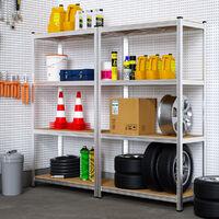 Deuba 2x Shelves Shelving Units Storage Unit Garage Racking 5 Tier Metal Rack