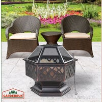 Fire Pit 70x60.5cm Log Garden Patio Outdoor Firepit Heater Brazier Burner Black