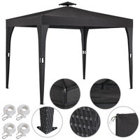 Poly Rattan Garden Gazebo 3x3m Roof Hood - 9m² Roofed Area - Anthracite