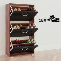 Shoe Cabinet DEUBA 3 Drawer Storage Cupboard Rack Stand Footwear White Black New Wenge - schwarz (de)