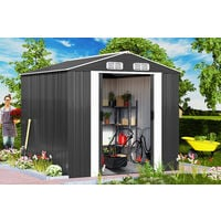 Deuba Garden Metal Tool Shed Size and Colour Choice Galvanised Green Anthracite Brown Roofed Outdoor Storage 10x8ft, Grey