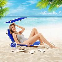 Sun Lounger Beach Aluminium Camping Recliner Patio Balcony Deck Chair Sun Shade Blue