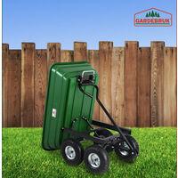 Deuba Garden Tipping Cart Dump Truck Wheelbarrow Trolley 300kg Tipper Truck Trailer Green