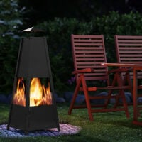 Gardebruk Fireplace Pyramid Poker Smoke Vent Lockable Door Stable Stand Patio Stove Fire Basket