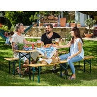 Deuba Table Bench Set Wooden Trestle Beer Folding Outdoor Dining Furniture Set 220x50x75cm 2 Benches Seating Party