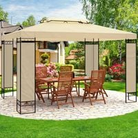Garden Gazebo 3x4m Marquee BBQ Party Tent Canopy Outdoor Patio Steel Frame Large Anthracite