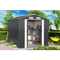 Deuba Garden Metal Tool Shed Size and Colour Choice Galvanised Green Anthracite Brown Roofed Outdoor Storage 8x6ft, Grey