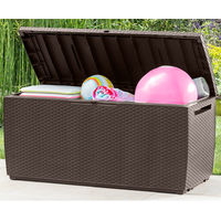 Keter Garden Storage Box 305 Litre Sit on Outdoor Bench Plastic Wheels Brown