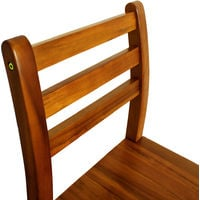 Wooden Kitchen Bar Stools With Back Rest Made Of Tropical Acacia Hardwood (Lot of 2)