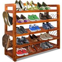 Wooden Shoe Rack 5 Tier Storage Cabinet Wood Shelf for Hallway Large Furniture Organiser Unit Brown Cupboard Racks