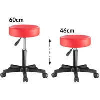 Deuba Swivel Stool Adjustable Work Chair Hydraulic Seat PU Leather Thick Padding Red
