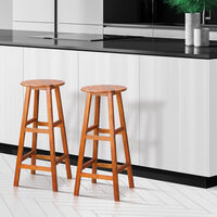 2x Wooden Bar Stool w/ Footrest & Round Seat   Strong Acacia Hardwood   Kitchen   Breakfast   Counter   Conservatory   Café   Pub