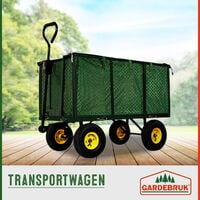 Deuba Handcart Removable Tarpaulin Up To 550kg Load Capacity Handcart Garden Transport Cart