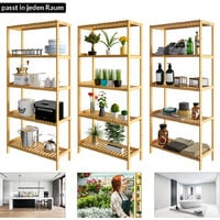 Wooden Storage Rack Bamboo 5 Height Adjustable Shelves 130x60x26cm