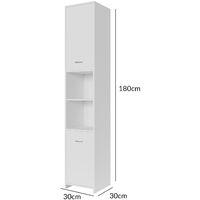 Deuba White Bathroom Cupboard Tall Cabinet High Furniture Large Storage Unit Freestanding Home