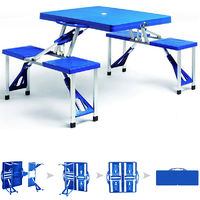 Deuba Aluminum Camping Table With 4 Chairs Foldable Luggage Table Parasol Holder Handle Camping Furniture Set
