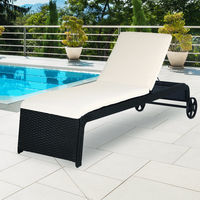 Casaria Poly Rattan Garden Furniture Sun Lounger Outdoor Patio Day Bed Recliner Terrace Black Wicker Cushion and Castors