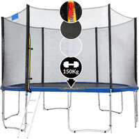 Monzana Outdoor Trampoline Set for Kids & Adults Safety Enclosure Net Ladder Galvanized Frame Tools 150Kg