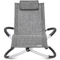 Casaria Garden Lounger Swing Ergonomically Foldable Rocking Sun Lounger Relax Garden Chair Grey
