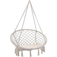 Hanging Swing Chair Hammock Garden Camping 150kg Basket Outdoor Patio Relaxing Beige