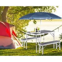 Portable Aluminium Camping Table & 2 Folding Benches with Case Feature White Grey Grey