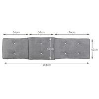 Sun Lounger Cushion Pad Deck Chair Breathable Grey & Cream Mixed Grey mottled