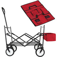 Wagon Cart Trolley with Collapsible Canopy Garden Transport Portable Trailer Red