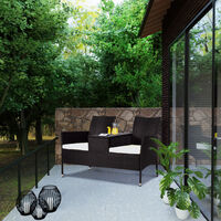 Garden Bench Poly Rattan WPC Table Top Water-Repellent Cinema Bench Garden 2 Seater