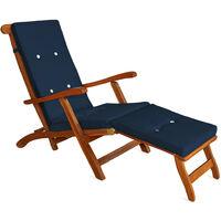 Deuba Sun Lounger Cushions Waterproof Steamer Recliner Relaxer Ties Cushion Seating Pads 173 x 43 cm Blue