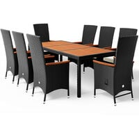 Casaria Poly Rattan Dining Table Chairs Set 8 Garden Patio Outdoor 7cm 190x90cm Acacia Furniture