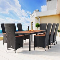Casaria Poly Rattan Dining Table 8 Chairs Set Tiltable Back Footrest 7cm Cushions 190x90cm Acacia Wood Garden Furniture