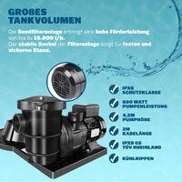 Sand Filter System Pool Filter 15900 L/h 6-Way-Valve 60 L Tank