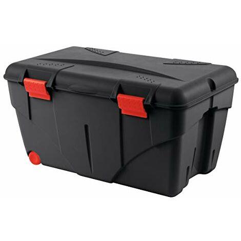 Boite a outils - Caisse de rangement avec couvercle Malle + roulettes Trafic 110 L Rouge / Noir