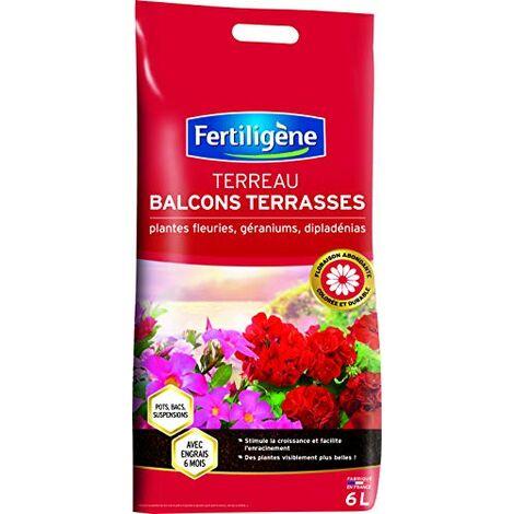 Fertiligene Terreau Balcons Terrasses Plantes Fleuries, 6L