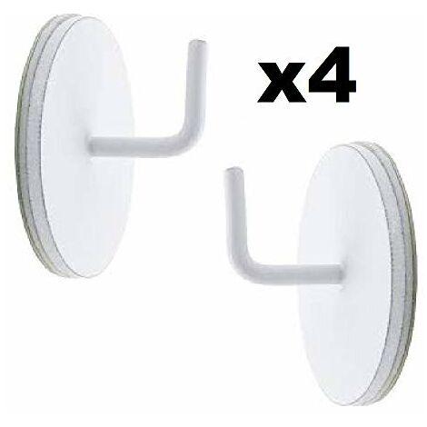 ATELIERS 28 Supports adhésifs Ronds Métal Idéal Tringle Extensible Ronde D7 ou 10 Lot de 2 ou 4 (Blanc, 4)