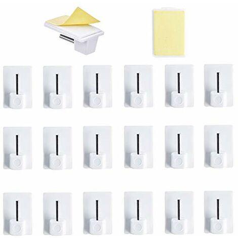 HO2NLE 20 pcs Rideaux Crochets Adhesifs pour Tringle Rideau Crochet Autocollant Accroche Rideau Sans Percage pour Rideau Canne de Cuisine de Chambre de Salle de bain de Balcon (Blanc)