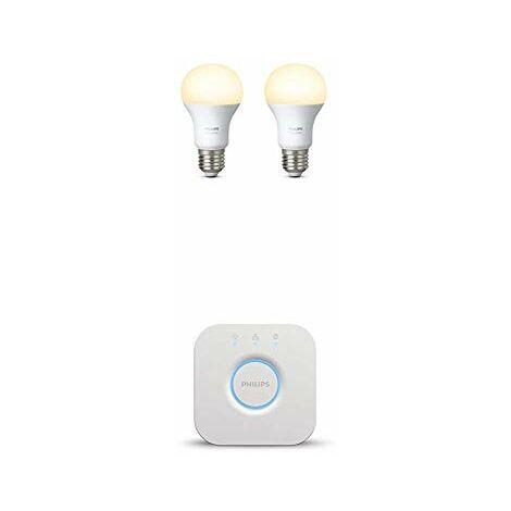 Philips Hue Ampoules Connectees Blanc E27 - Fonctionne avec Alexa, Lot de 2[Classe energetique A+] + Pont de connexion Hue