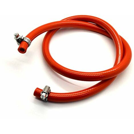 9 mm propane butane GPL Tuyau de tuyau de gaz pour barbecue Camping Caravane + 2 clips 1m Orange
