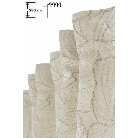 Rideau Jacquard Tamisant Mate 135 x 280 cm Galon Fronceur Pattes Cachées Motif Floral Naturel Ecru   - Ecru