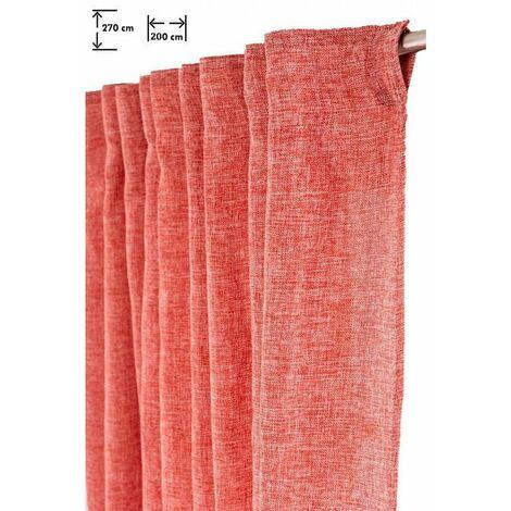 Rideau Grande Largeur Tamisant 200 x 270 cm Galon Fronceur Chiné Rouge Rouge   - Rouge