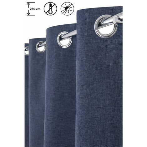 Rideau Occultant 135 x 280 cm à Oeillets Grande Hauteur Thermique Chiné Uni Bleu Bleu   - Bleu