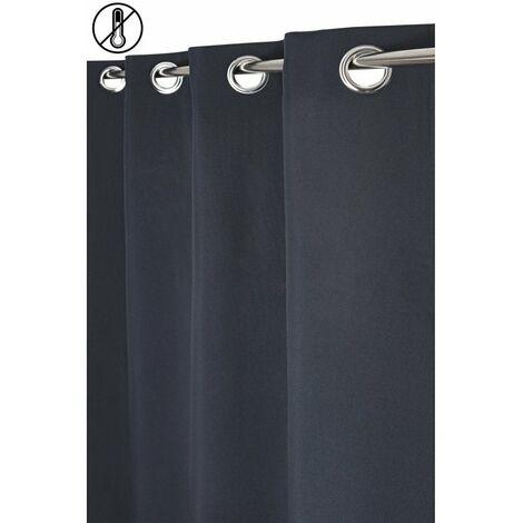 Rideau Tamisant Thermique 135 x 260 cm à Oeillets Uni Aspect Chambray Uni Bleu Bleu   - Bleu
