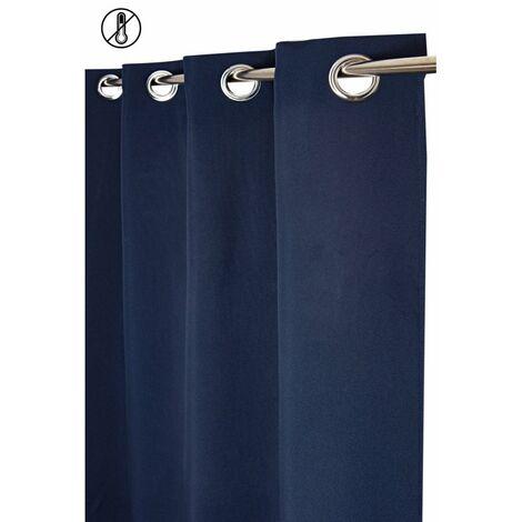 Rideau Tamisant Thermique 135 x 260 cm à Oeillets Uni Bleu Bleu   - Bleu