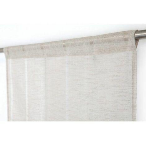 paire voilages vitrages 60 x 160 cm a passe tringle tissu leger effet gaze de lin a rayures verticales style naturel taupe naturel naturel