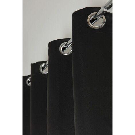 Rideau Occultant 140 x 240 cm a Oeillets Mat Lourd Solide Uni Noir Noir   - Noir