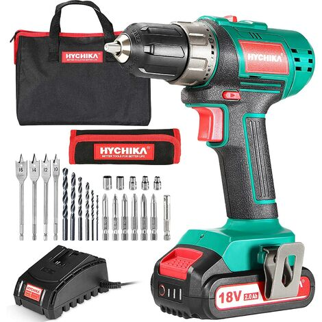 Cordless Drill Driver, HYCHIKA 18V Electric Drill, 35N·m with 2000mAh Li-Ion Battery, 21+1 Torque Setting, 10mm Chuck, 2 Variable Speed, 22PCS Accessories and Carrying Case