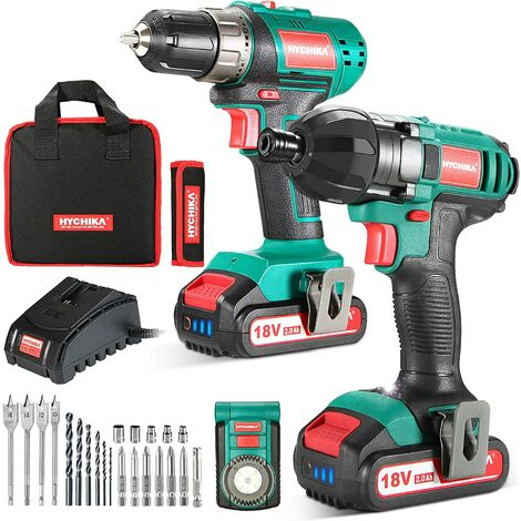 18V Combi Drill Kit, HYCHIKA Electric Drill 35Nm and Impact Driver 160Nm, 2X2.0Ah Batteries, Belt Buckle, LED Light, with 22PCS Accessories, Carrying Bag for Drilling and Screw Driving
