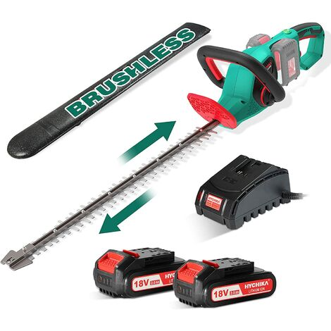Hedge Trimmer, HYCHIKA 36V Brushless Cordless Hedge Trimmer With 2 Li-ion Batteries, Fast Charger, Dual Action Cut, Blade Length 60cm, Teeth Spacing 26mm, Hedge Cutter with Ergonomic Rotating Handle