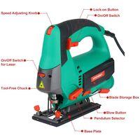 Jigsaw, 800W Max Cutting Depth 110mm for Wood, 800-3000SPM HYCHIKA Electric Jigsaw with Laser, 6 Variable Speeds, 0-3 Orbital Sets, Bevel Cutting: -45 ° to 45, 6 Blades and Carrying Case